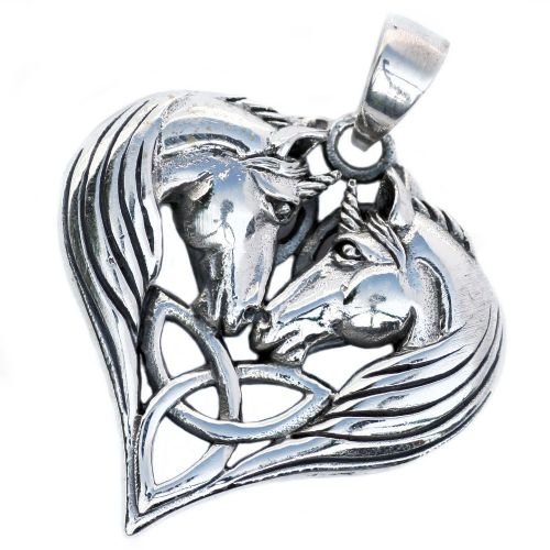 Unicorns Heart Celtic Silver Pendant (P071)